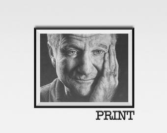"11.69"" x 16.53"" print of Robin Williams originally drawn in charcoal on Cartridge paper"