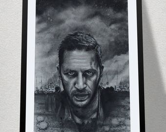 """11.69"""" x 16.53"""" drawing of Tom Hardy as Mad Max in charcoal on grey card"""