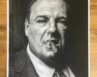 "23.39"" x 33.11"" print of Tony Soprano originally hand drawn in charcoal on Cartridge paper"
