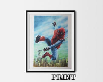 """11.69"""" x 16.53"""" print of Spider-Man Homecoming originally hand drawn in Copic marker and coloured pencil"""