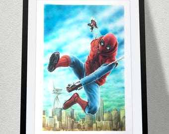 """11.69"""" x 16.53"""" drawing of Spider-Man Homecoming in Copic marker and coloured pencil"""