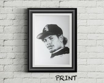 "8.27"" x 11.69"" print of Eazy E originally hand drawn in black ballpoint pen on cartridge paper"
