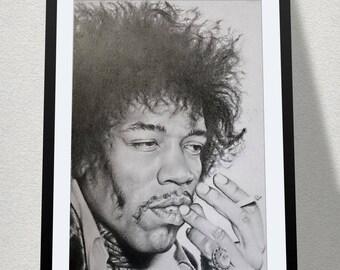 "11.69"" x 16.53"" drawing of Jimi Hendrix in graphite on Bristol paper"