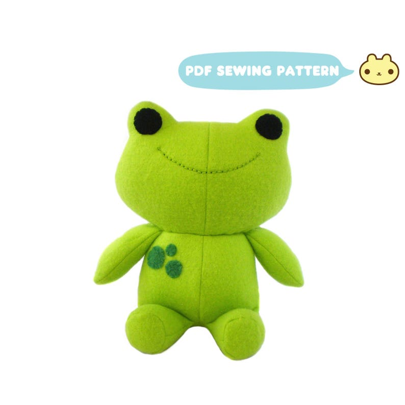 Frog Plush Sewing Pattern Plush Sewing Pattern Kawaii Frog image 0
