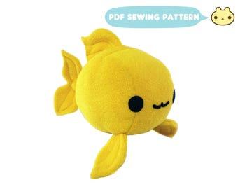 Fish Sewing Pattern, Goldfish Toy PDF, Plush Stuffed Fish Sewing, Aquatic Toy Pattern, Fish Sewing, Stuffed Toy Pattern, Fish Plushie PDF