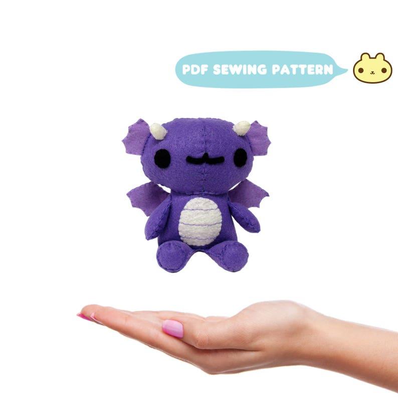 Plush Pattern Mini Chibi Dragon Pattern Felt Toy Pattern image 0