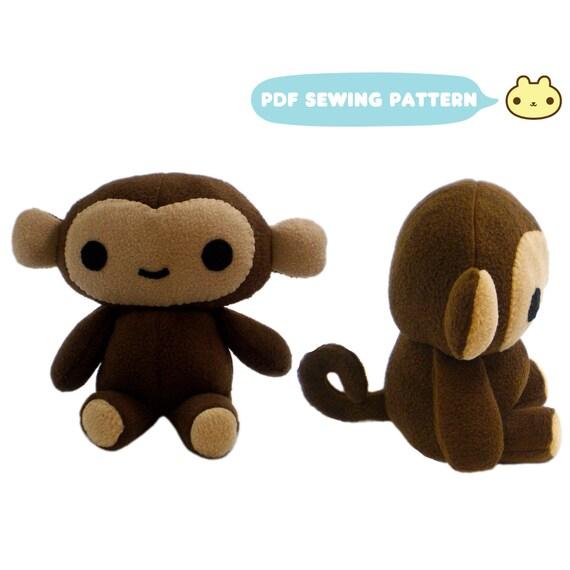 Plush Pattern Stuffed Animal Patterns Monkey Soft Toy Etsy