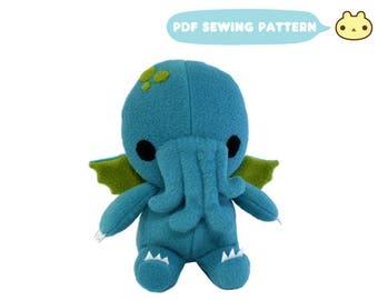 Cthulhu Sewing Pattern, Cthulhu Plush Toy PDF, Monster Sewing Pattern, Cthulhu Pattern, Stuffed Monster, Plush PDF Pattern, Cthulhu Toy
