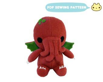 Cthulhu Pattern, Plush Cthulhu Toy, Sewing Patterns, Plush Sewing Pattern, Cthulhu Stuffed Monster, Plush Patterns, Cthulhu Toy Sewing, PDF