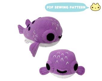 Puffer Fish Pattern, Plush Puffer Fish Pattern, Puffer Fish e-book, Pufferfish Toy pdf, Blowfish Toy Sewing, Blow Fish Pattern, DIY Sewing