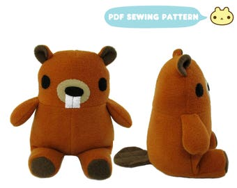 Beaver Stuffed Toy Pattern, Stuffed Animal Pattern, Sewing Patterns, Beaver Plush, Stuffed Beaver Toy, Beaver Sewing Pattern, Plush Toy