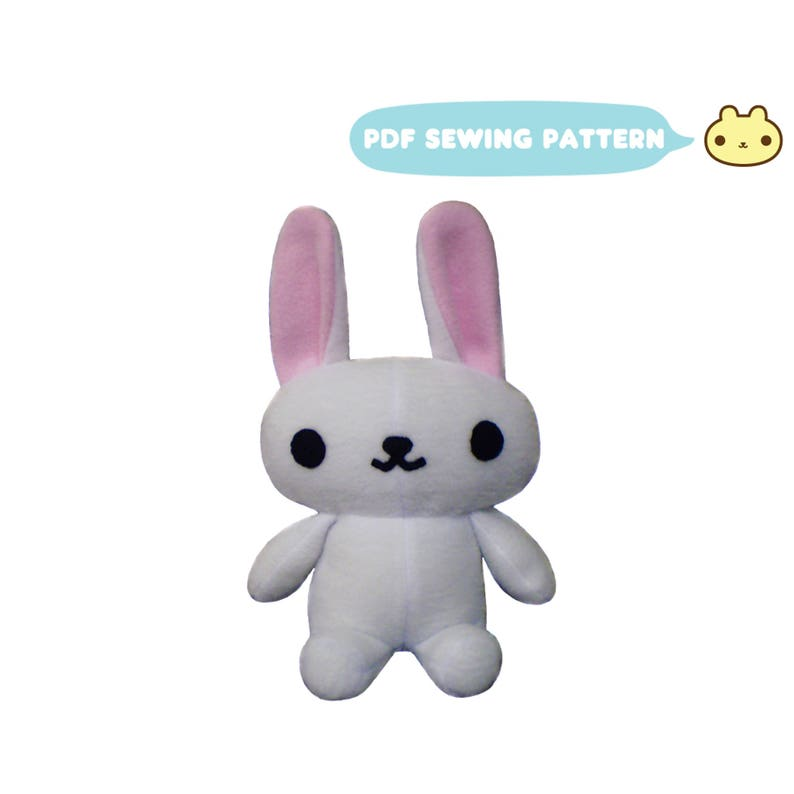 Chibi Plush Sewing Bunny Pattern Stuffed Bunny Rabbit Sewing image 0