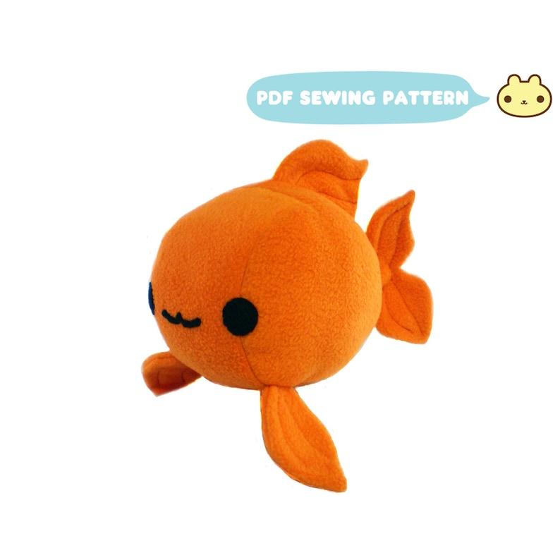 Goldfish Plush Sewing Pattern Koi Toy PDF Plush Gold Fish image 0