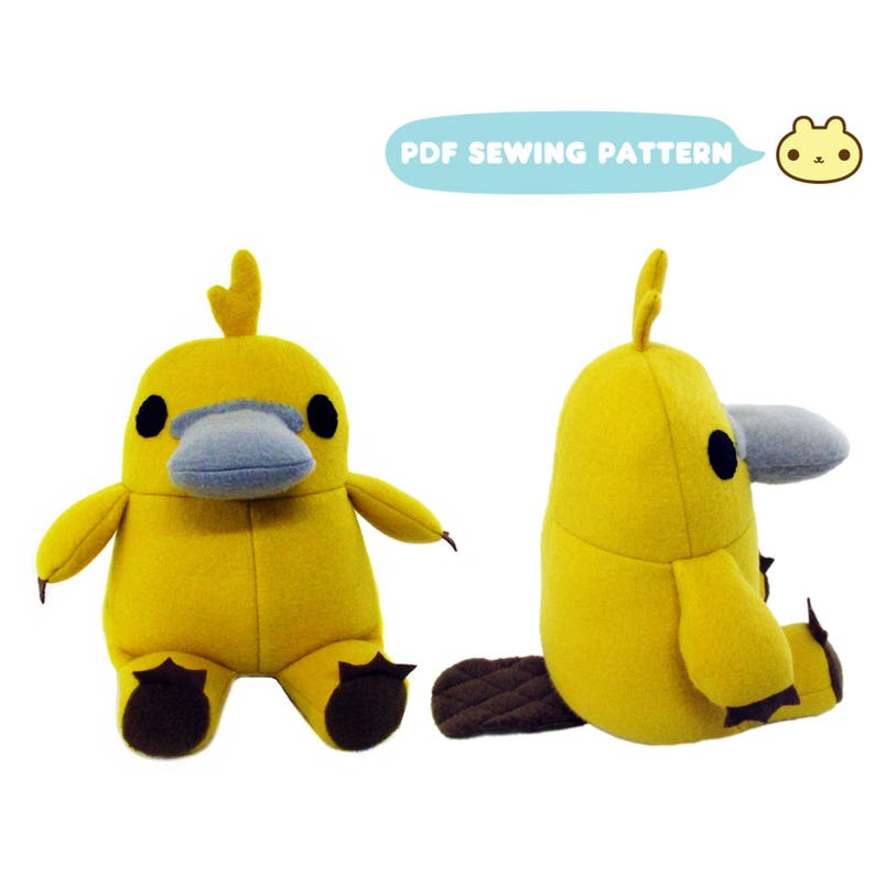 Platypus Toy Sewing Pattern Stuffed Platypus Softie Toy image 0