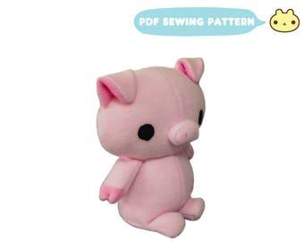 Sewing Pattern Plush Pig , Pig Pattern, DIY Piglet Plush Toy, Soft Animal DIY, Piglet Sewing Pattern, Pig Toy, Pig Crafting, Stuffed Pig Toy