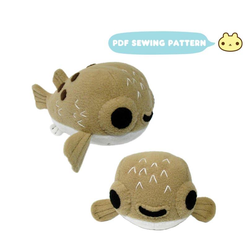 Stuffed Animal Pufferfish Pattern Plush Sewing Pattern image 0