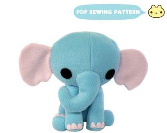 Stuffed Animal Pattern, Elephant, Elephant Plush Sewing Pattern, Elephant Toy Pattern, Plush Elephant Toy, DIY Elephant, Plush Elephant DIY,