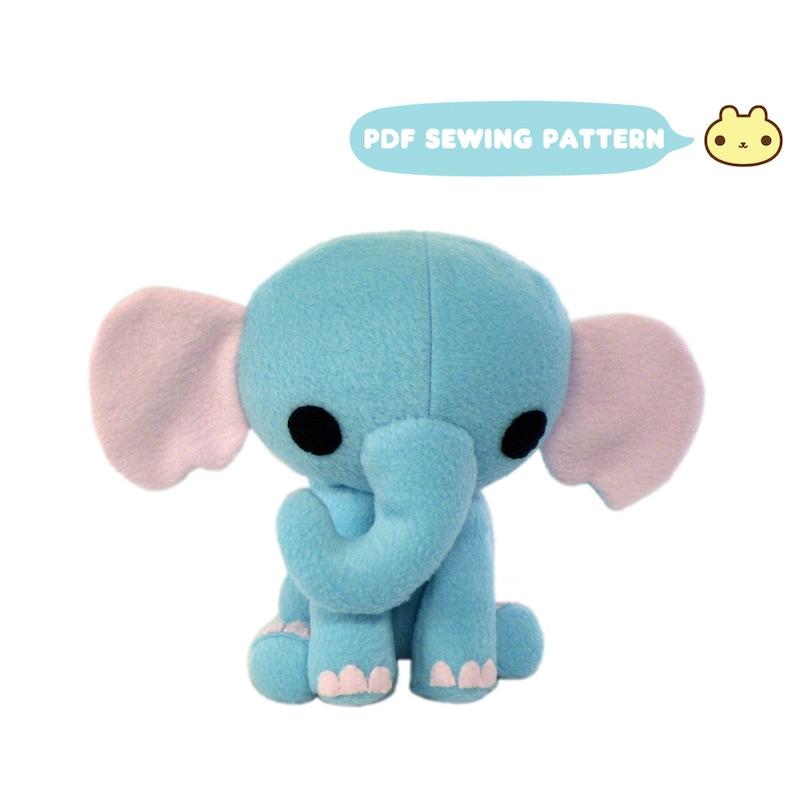 Stuffed Animal Pattern Elephant Elephant Plush Sewing image 0
