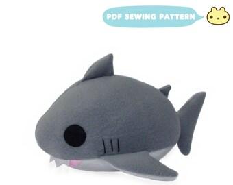 Shark Plush Toy Sewing Pattern, Shark PDF, Shark Plush DIY, Shark Stuffed Animal pattern, pdf Toy Stuffie Shark, Toy Plush Shark Pattern