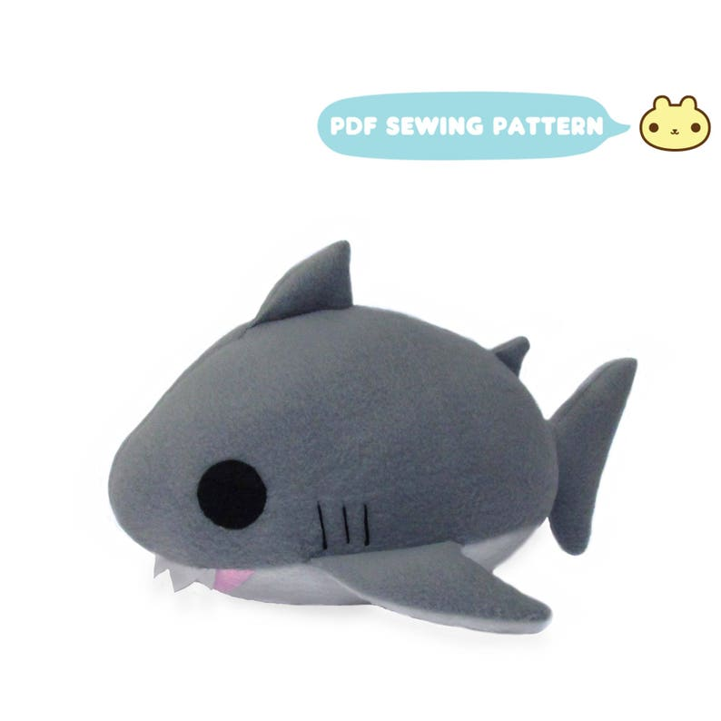 Shark Plush Toy Sewing Pattern Shark PDF Shark Plush DIY image 0