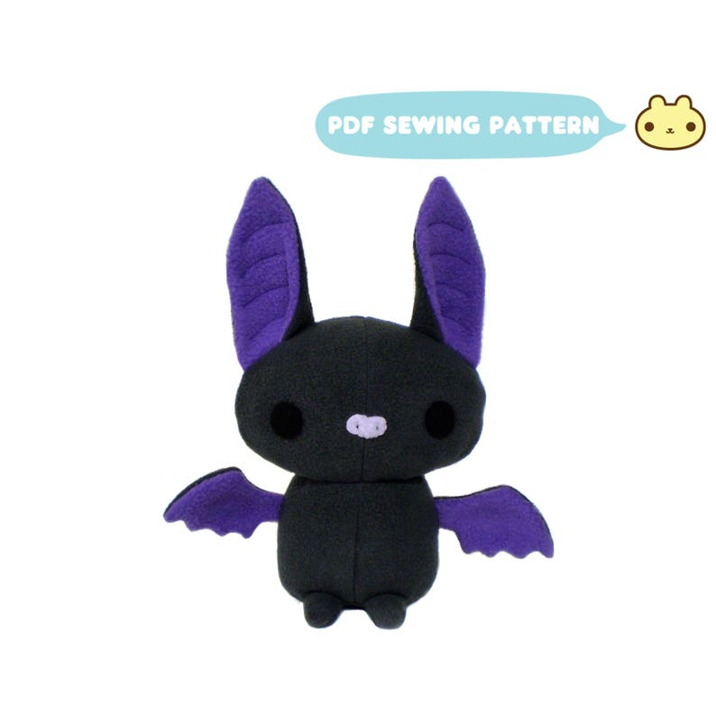 Plush Stuffed Animal Pattern Bat Sewing Pattern DIY Stuffed image 0