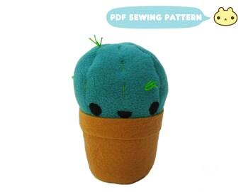 Succulent Pattern, DIY Cactus, Easy Sewing Pattern, Plant Sewing Pattern, Stuffed Succulent Sewing, Cactus Plush Toy pdf, Plushie Cactus Toy