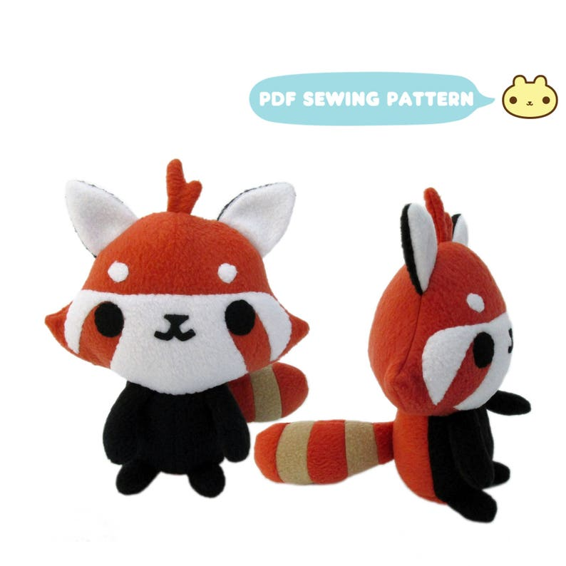 Red Panda Sewing Pattern Red Panda Plush Toy Stuffed Animal image 0