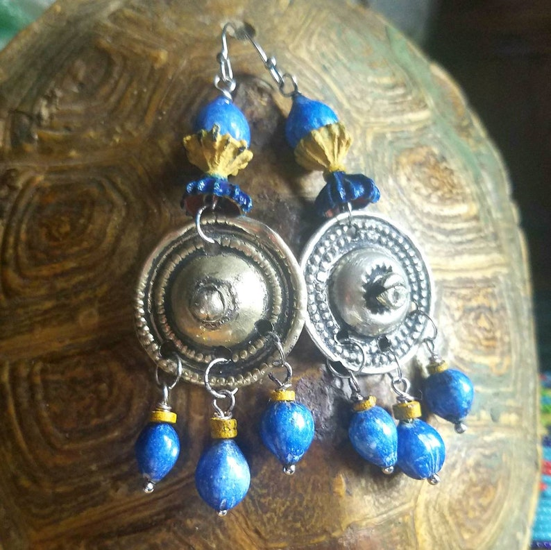 Afghan Button Earrings Tribal Kuchi Bohemian Gypsy Festival Ethnic Boho Beaded Banjara Moroccan Eucalyptus Imfibinga Jacob/'s tears