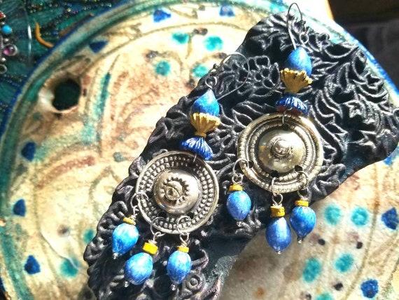 Bohemian Afghan Gypsy Dangle Earrings in Red Tribal African Kuchi