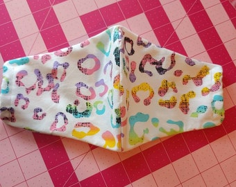 Rainbow Leopard Print Olson Face Mask: Ear Loops OR Tie Straps. Made to Order
