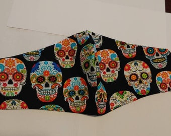 Sugar Skulls Olson Face Mask: Ear Loops OR Tie Straps. Made to Order