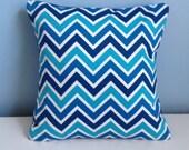 Turquoise throw pillow cover. Coastal pillow, beach house summer pillow. Blue pillow. Modern pillow. Chevron toss pillow. 18x18 sofa pillow.