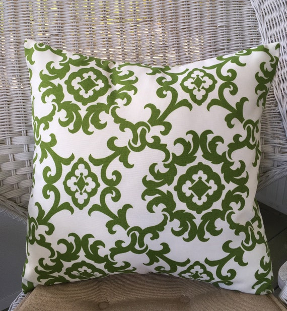 Green Outdoor Pillow Green And White Outdoor Throw Pillow Etsy