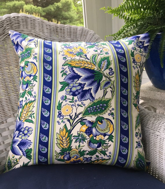 French Country Throw Pillow Blue Yellow Provence Country French Decor Country Cottage Chic Decorator Sofa Pillow Cover Vintage Waverly