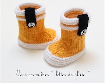 3cfaaf4b0384 Bottes de pluie bébé    Bottes de marin    Patron tricot    PDF  téléchargement instantané    Tailles 3 à 12 mois