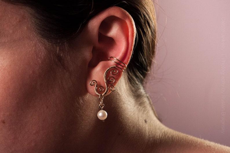 pearl earrings gold ear-cuffs wedding earrings jewelry for wedding ear cuff earrings,Calisto Breeze Christmas gift gemstone earrings