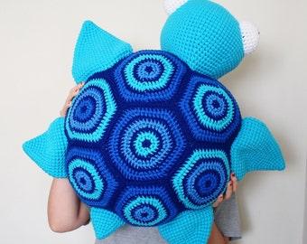 Large Crochet Turtle Floor Pillow