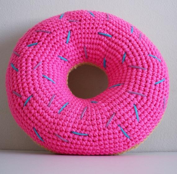 Häkeln Sie Rosa Mattierte Donut Kissen Mit Puple Und Blauen Etsy