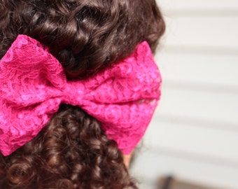 LACE Fabric Hair Bow - Hot Pink Hair Bow - Lace Hair bow - Fabric Bow - Special Ocassion Hair Bow - Teens Bows - Girls Bow
