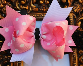 Black Pink and White Baby Headband-  Double Bow,Infants Bow, Girls Bow, Teens Bows