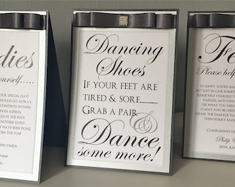 Wedding Signage | Toiletries Sign | Flip Flop/Dancing Shoes Sign