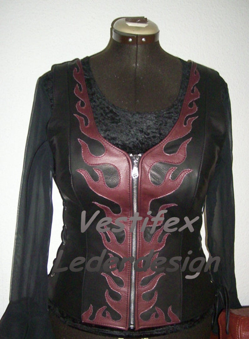 Handmade leather top handcrafted leather corset vest with flames lace corset leather top flame vest cow leather corsage