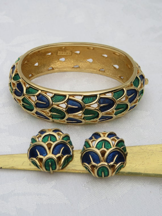 Marcel Boucher Blue Green Peacock Clamper Bracelet