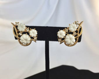 Vintage, Trifari Signed, Gold Tone, White Celluloid and Rhinestone Earrings