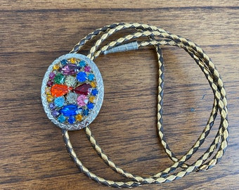 Big Flower Basket Rhinestone Bolo Tie Handmade Vintage Dazzling