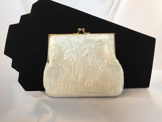 c99ee7e29a98 Vintage Magid Brand White Beaded Evening Bag Clutch.