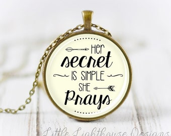 Large She Prays Necklace Quote Necklace Quote Pendant Verse Necklace Christian Pendant Christian Jewelry Gift Graduation Gift