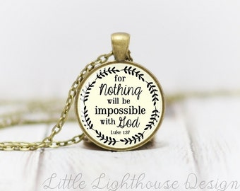 Medium With God Necklace Quote Necklace Quote Pendant Verse Necklace Christian Pendant Christian Jewelry Gift