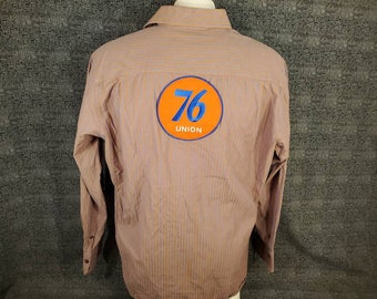 Union 76 Gas Station Attendant Crew Shirt Button Up With Patch on Back Perry Ellis Long Sleeve