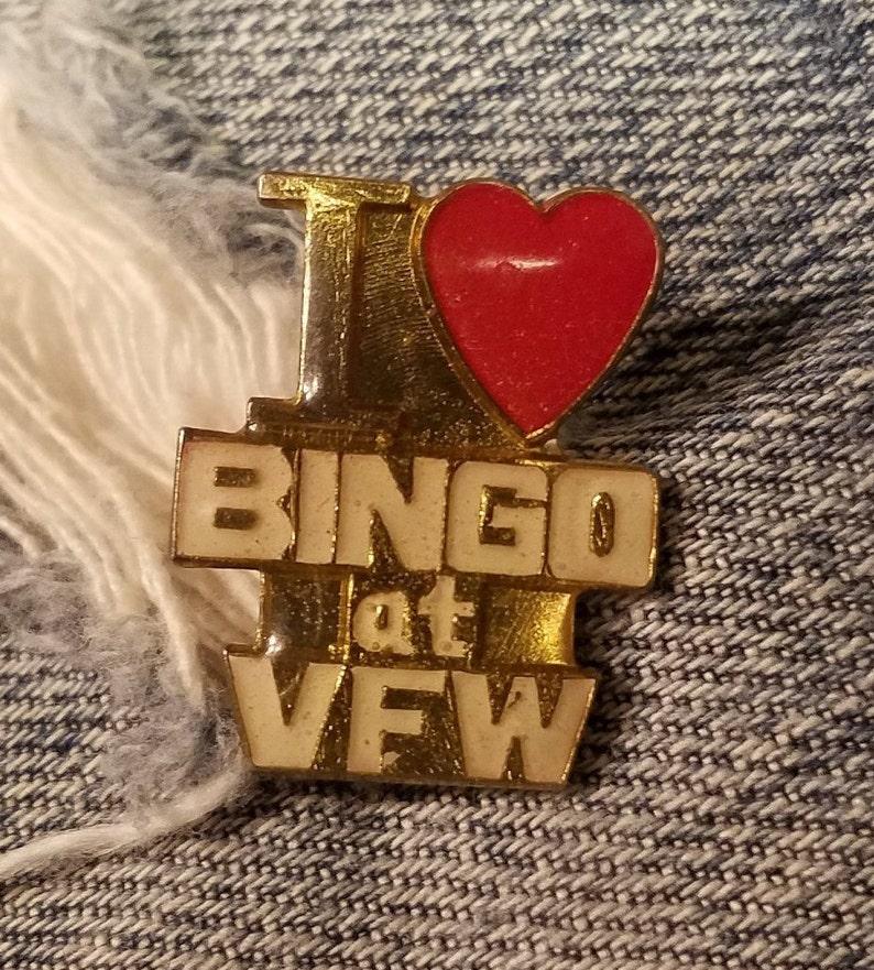 1e0bacca141 I Love Bingo At The VFW Enamel Pin for Trucker Cap Carnival